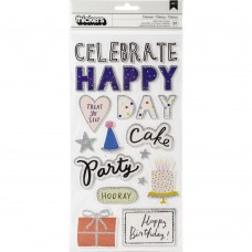 Adesivo - Hooray Thickers Stickers Words & Icons/Foam W/Glitter Accents