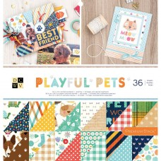 Bloco de Papel  - DCWV Double-Sided Cardstock Stack  Playful Pets