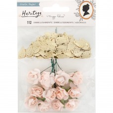 Enfeite - Maggie Holmes Heritage Embellishments Paper Flowers & Gold Leaf Sequins