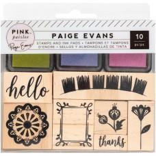 Carimbo de madeira - American Crafts Wooden Stamps & Ink Pads Paige Evans Horizon
