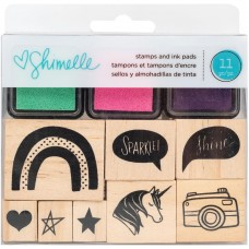 Carimbo de madeira - American Crafts Wooden Stamps & Ink Pads Shimelle Glitter Girl