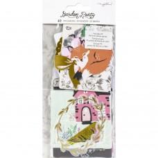 Recortes em cardstock - Maggie Holmes Garden Party Ephemera Cardstock Die-Cuts Cardstock & Vellum W/Gold Foil