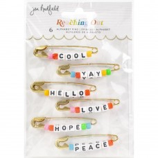 Alfinetes - Jen Hadfield Reaching Out Metal Safety Pins W/Phrase Beads