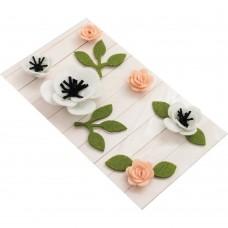 Flores - American Crafts Pocket Frames Felt Flowers 12/Pkg Style #2