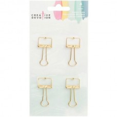 Clips - Creative Devotion Metal Binder Clips 4/Pkg Gold