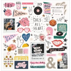 Adesivo chipboard - All Heart Chipboard Stickers 56/Pkg W/Champagne Glitter Accents