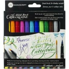 Caneta - Manuscript CalliCreative Aqua Brush Markers 12/Pkg Assorted Colors