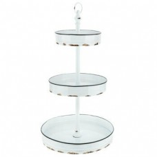 Organizador - Distressed White Three-Tiered Metal Stand