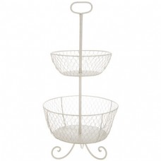 Organizador - Antique White Iron Two-Tiered Basket With Handle