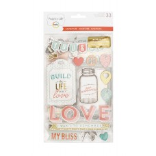 Adesivo chipboard - Project Life Chipboard Stickers Adventure Edition W/Gold Foil
