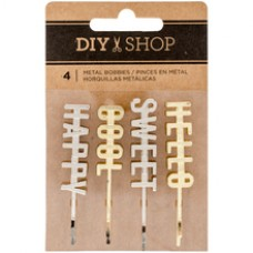 Clips - DIY Shop 3 Decorative Metal Word Bobbies 4/Pkg Gold & Silver