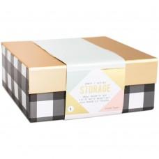 Caixa - Crate Paper - Desktop Storage Magnetic Box Small Black/White Stripes