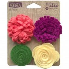 Flores - Jillibean Soup Mix The Media Felt Flowers 4/Pkg Mixed Magenta