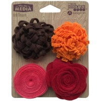 Flores - Jillibean Soup Mix The Media Felt Flowers 4/Pkg Shades Of Red