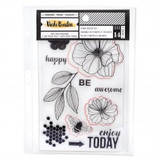 Carimbo e Faca de corte - Vicki Boutin Wildflower & Honey Stamps & Dies Wildflower W/Magnetic Sheet & Pouch