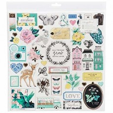 Adesivo chipboard - Maggie Holmes Flourish Chipboard Stickers  Accents W/Gold Foil