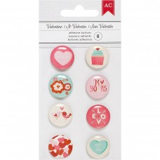 Enfeite - American Crafts Valentine Mini Flair Adhesive Buttons 8/Pkg
