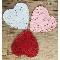 Trio doilies coração