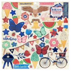 Adesivo chipboard - Celebrating Freedom Chipboard Stickers W/Blue Foil Accents