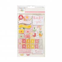 Adesivo chipboard - Project Life Chipboard Stickers Baby Girl Edition