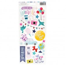 Adesivo - Shimelle Sparkle City Cardstock Stickers Accents & Phrases W/Holographic Foil