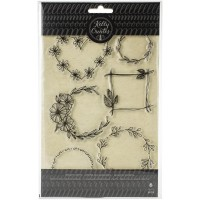 Carimbo - Kelly Creates Acrylic Stamps Floral Wreaths