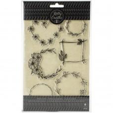Carimbo - Kelly Creates Acrylic Stamps Floral Wreaths